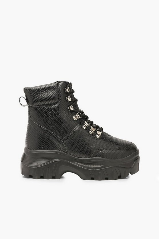 Wide Fit Snake Chunky Hiker Boots