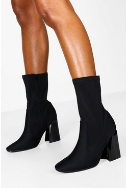 Dam Black Wide Fit Flare Heel Sock Boots