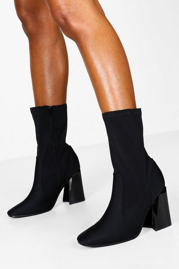 Womens Black Wide Fit Flare Heel Sock Boots