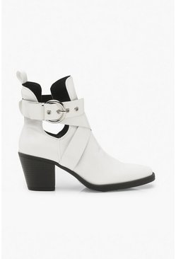 Womens White Wide Fit Cut Out Western Boots