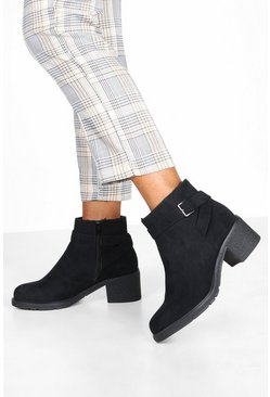 Wide Fit - Bottines avec doublure en laine de mouton, Noir