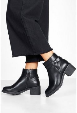 Black Wide Fit Shearling Lined Shoe Boots