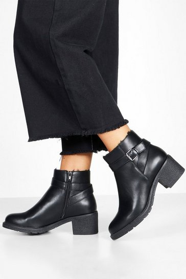 Womens Black Wide Fit Shearling Lined Shoe Boots