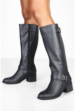 Black Wide Fit Belt Detail Low Block Knee Boots