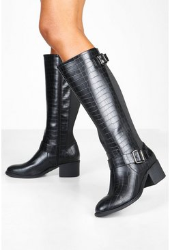 Womens Black Wide Fit Croc Low Block Heel Knee Boots