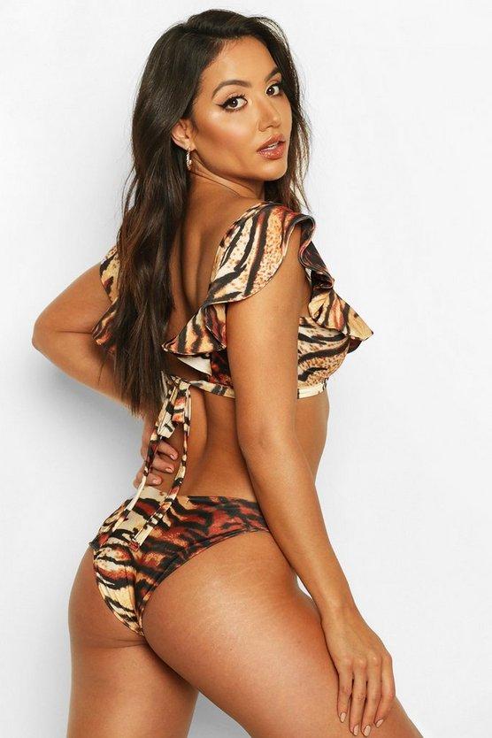 Tiger Print Ruffle Bikini Set