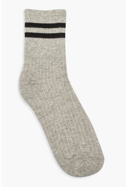 Womens Grey Sports Stripe Ankle Socks