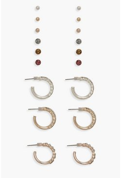 Womens Multi Diamante Stud & Hoop Earring Pack