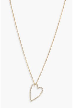 Womens Gold Diamante Heart Pendant Necklace