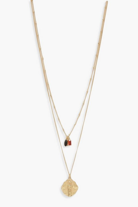 Gold Gem & Coin Simple Layered Necklace