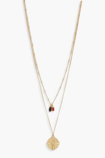 Womens Gold Gem & Coin Simple Layered Necklace