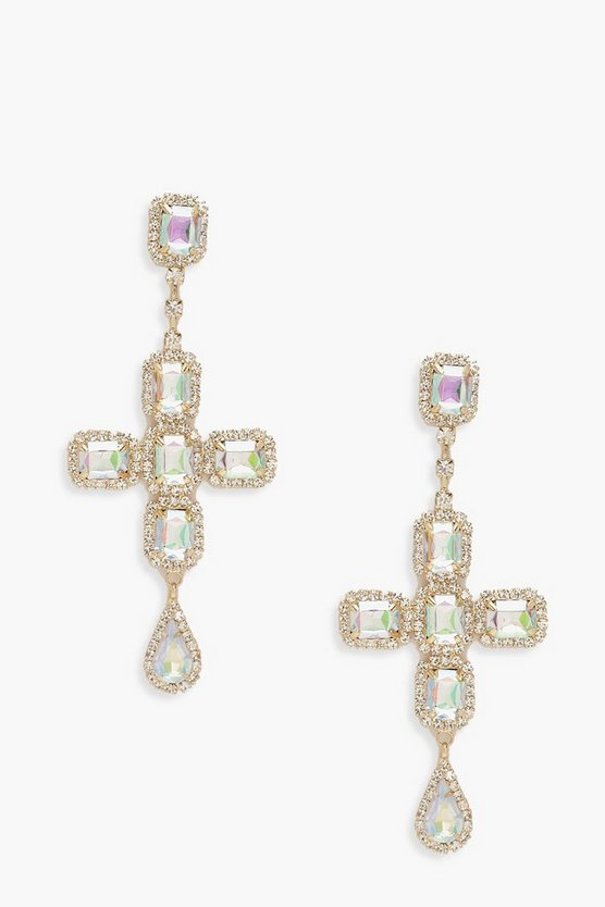 Iridescent Stone Cross Statement Earrings