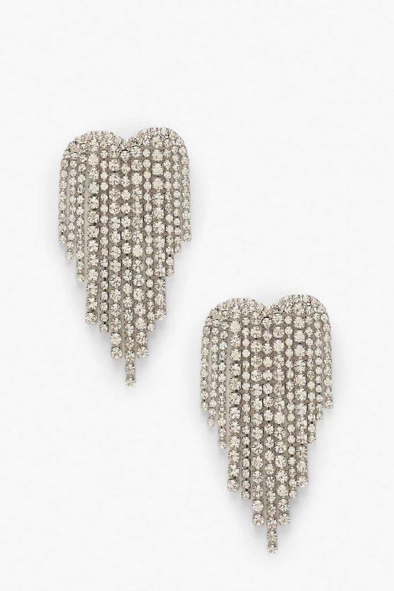 Heart Waterfall Diamante Statement Earrings