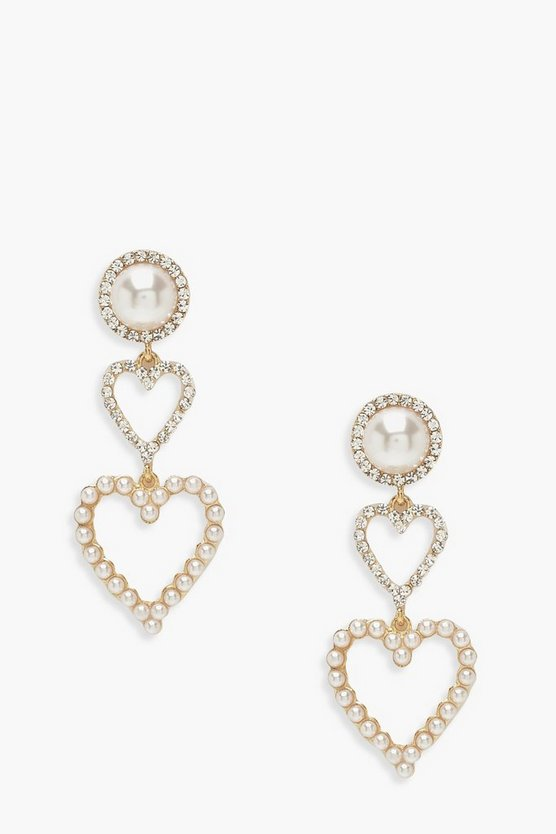 Pearl Double Heart Statement Earrings
