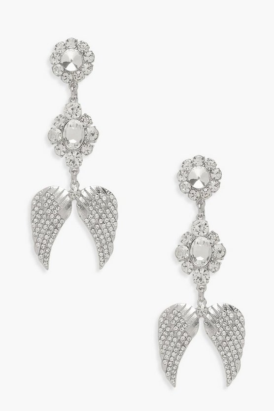 Angel Wing Premium Diamante Earrings