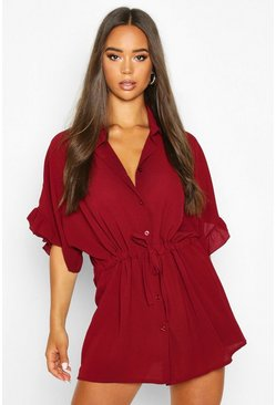 Burgundy Frill Sleeve Tie Waist Shirt Dress