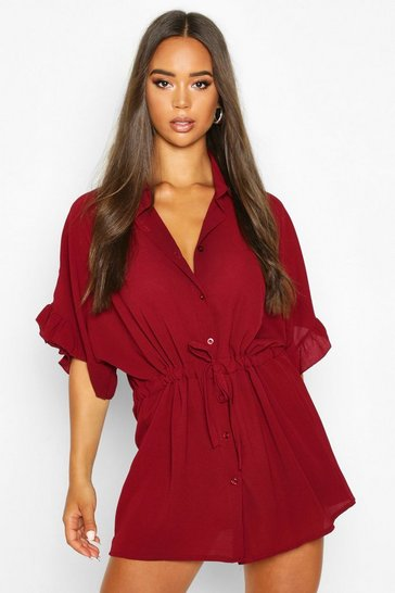Womens Burgundy Frill Sleeve Tie Waist Shirt Dress
