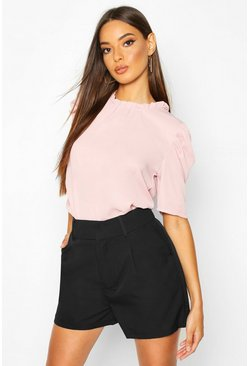 Blush High Neck Volume Sleeve Blouse