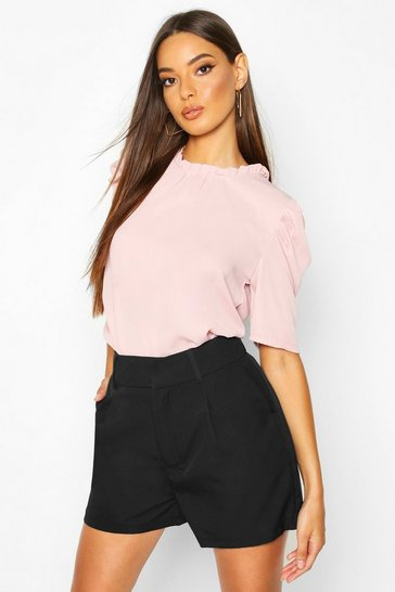 Womens Blush High Neck Volume Sleeve Blouse