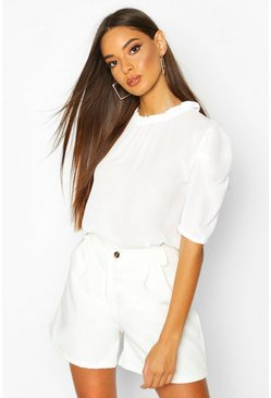 Ivory High Neck Volume Sleeve Blouse