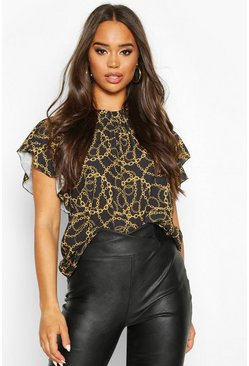 Womens Black Chain Print High Neck Frill Sleeve Blouse