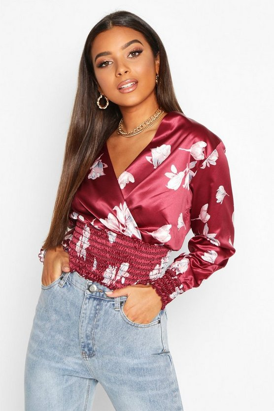 Floral Shirred Waist And Cuff Wrap Blouse