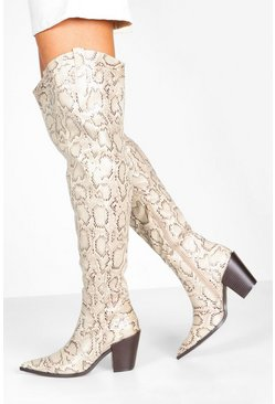 Natural Square Block Heel Pointed Toe Thigh High Boots