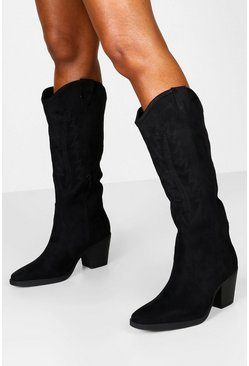 Black Block Heel Knee High Embroidered Western Boots