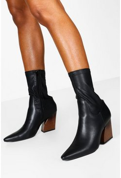 Black Interest Heel Sock Western Boots