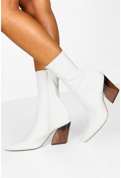 Womens White Interest Heel Sock Western Boots
