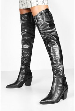 Black Croc Pointed Toe Block Heel Thigh High Boots