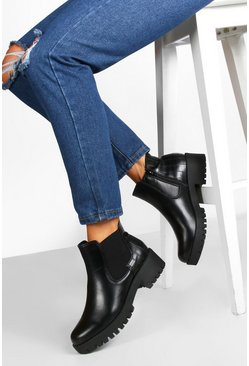 Womens Black Croc Panel Cleated Sole Chelsea Boots