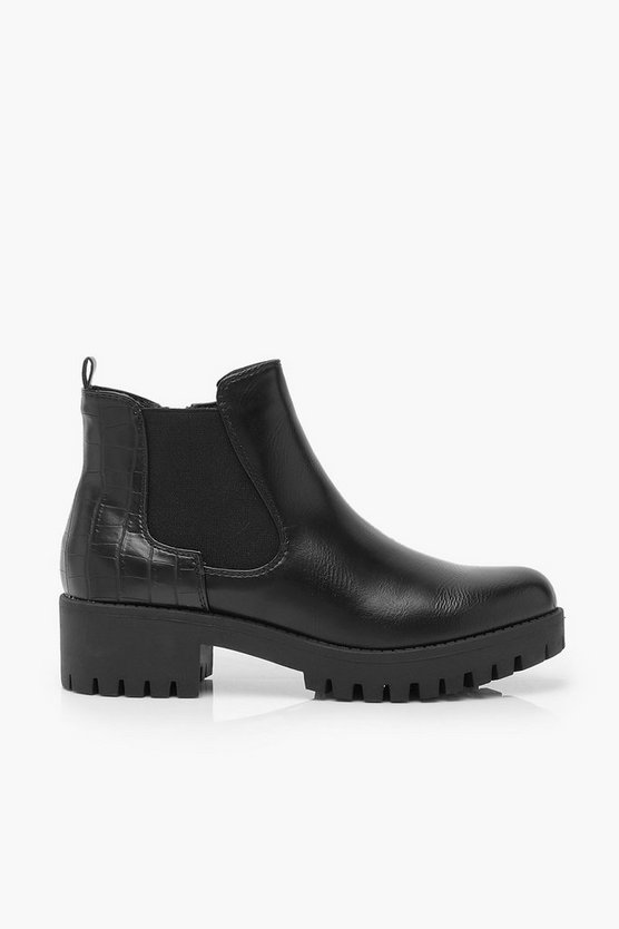 Croc Panel Cleated Sole Chelsea Boots