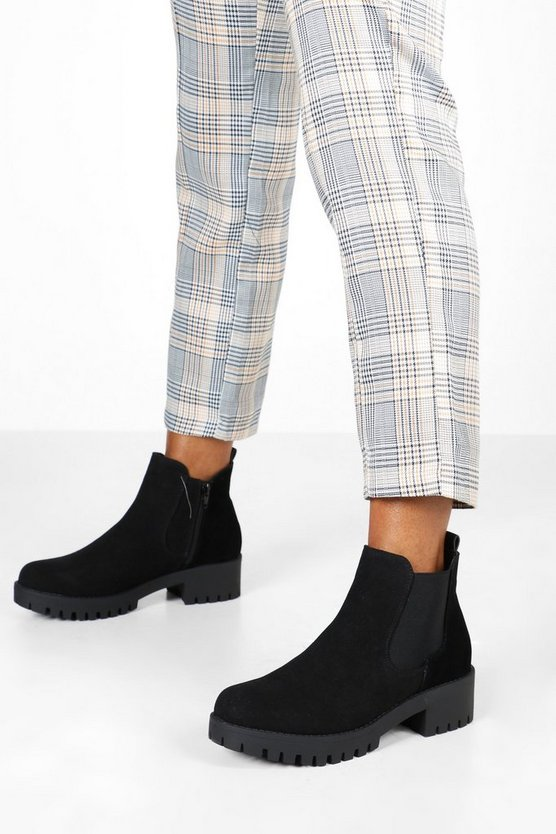 Cleated Sole Block Heel Chelsea Boots