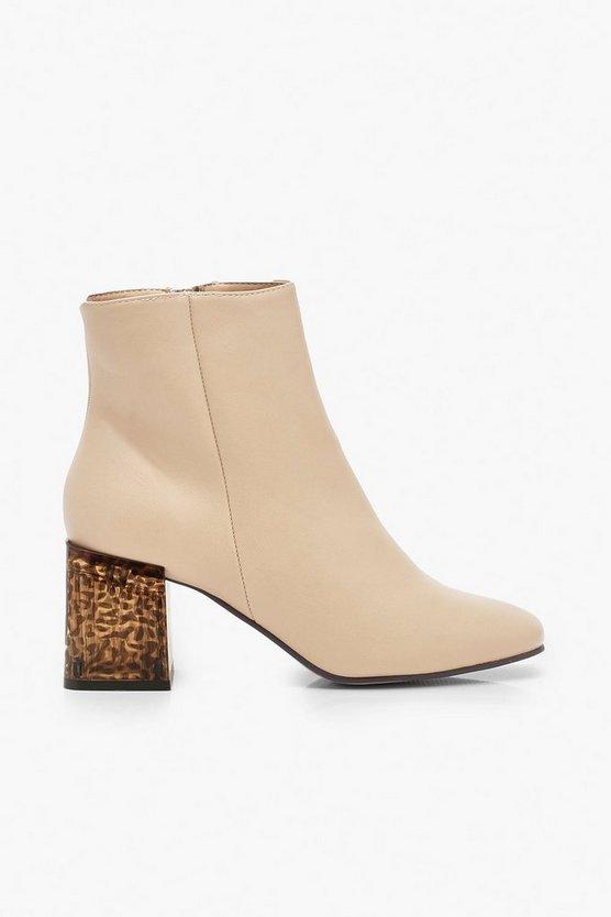 Tortoise Shell Block Heel Shoe Boots