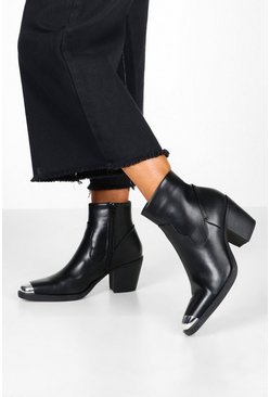 Womens Black Metal Toe Block Heel Western Boots