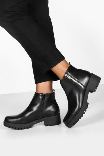 Womens Black Zip side Cleated Sole Chelsea Boots