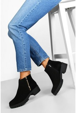 Black Zip Shoe Cleated Sole Chelsea Boots