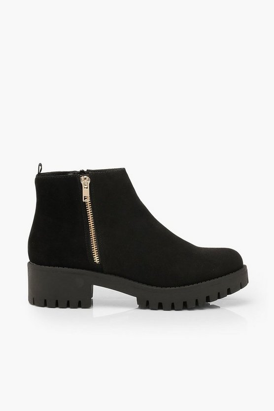 Zip Shoe Cleated Sole Chelsea Boots
