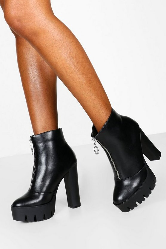 Black O Ring Zip Front Cleated Platform Shoes