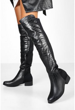 Womens Black Croc Knee High Flat Rider Boots