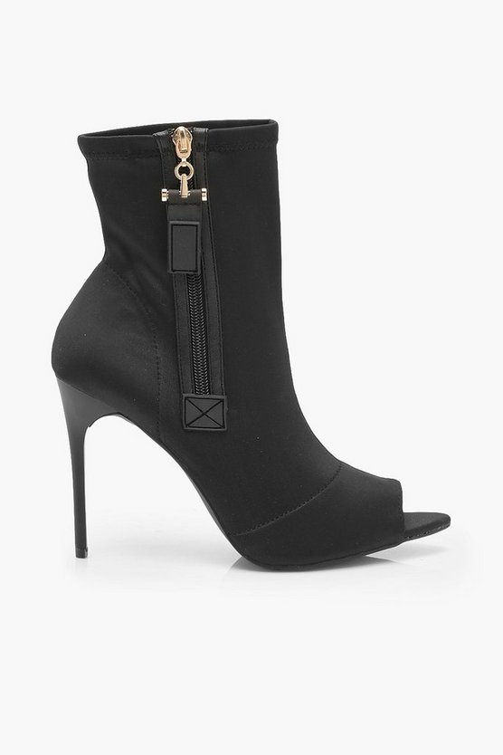 Zip Side Peeptoe Stiletto Heel Shoe Boots