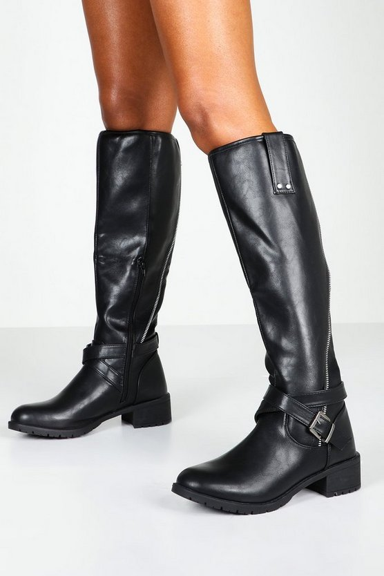 Black Zip Detail Flat Knee High Riding Boots