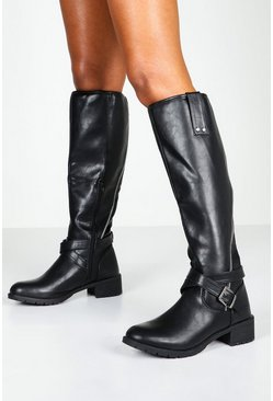 Womens Black Zip Detail Flat Knee High Riding Boots