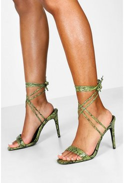 Womens Green Wide Fit Snake Wrap 2 Parts