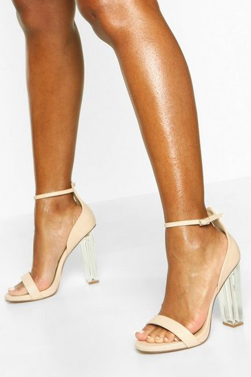Womens Nude Wide Fit Clear Heel 2 Parts