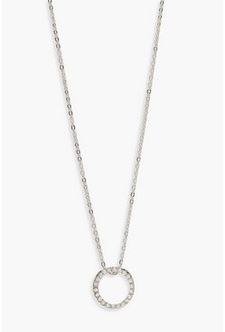 Womens Silver Crystal Circle Pendant Necklace