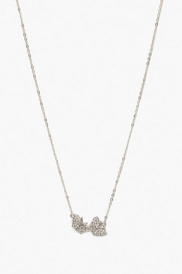 Womens Silver Crystal Double Butterfly Pendant Necklace