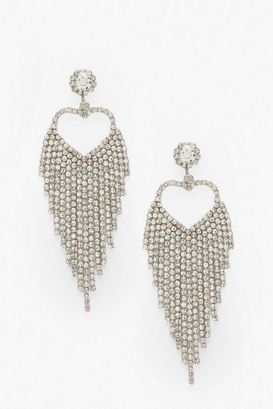 Diamante Heart Waterfall Statement Earrings