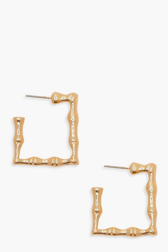 Gold Square Chunky Bamboo Effect Hoops